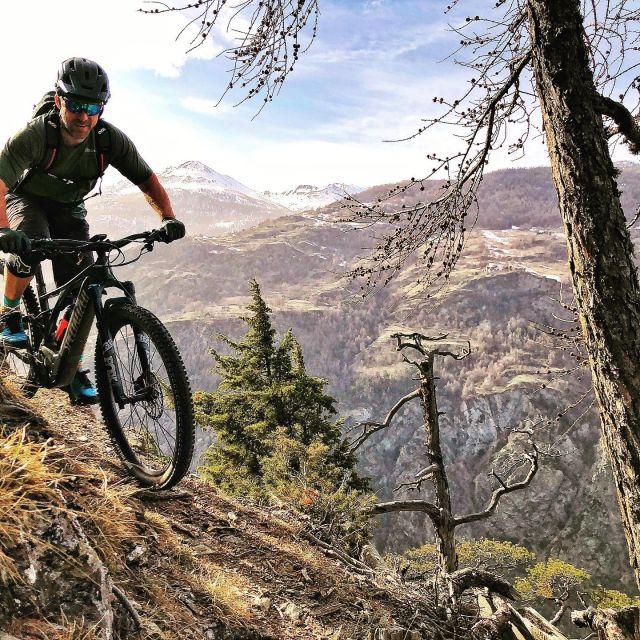 saharadusty rides @1.4k #alps #mountains #swissalps #swissmountains #switzerland #valais #wallis #mountainbike #mtbswitzerland #mtbenduro #enduromtb #emtb #levolove #specialized #swisscycling #ridewithguide #marczauggbike #wearebikebox #lifebehindbars #march2021 #nature #sun #dustytrails #saharadust 📸 @singletrail_rider